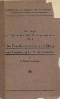 Die Familiennamen von Stolp und Umgebung im 16. Jahrhundert [I. Auflage]