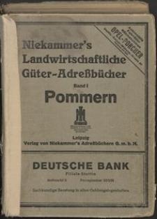 Niekammer's Landwirtschaftliche Güteradreßbücher. Band I: Landwirtschaftliches Adreßbuch der Provinz Pommern.
