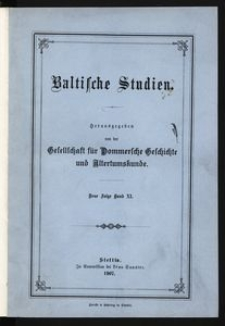 Baltische Studien [T. 11]