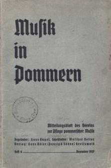 Musik in Pommern. Mitteilungsblatt des Vereins zur Pflege pommerscher Musik