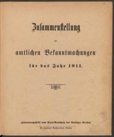 Zusammenstellung der amtlichen Bekanntmachungen für das Jahr 1911 [vom Kreis-Ausschuß des Bublitzer Kreises]