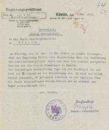 Pismo poufne prezydenta rejencji koszalińskiej do nadburmistrza Koszalina z 9.05.1933 r. wraz z załącznikiem