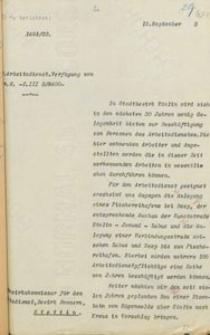 Pismo Służby Pracy do magistratu w Koszalinie z 15.09.1933 r.