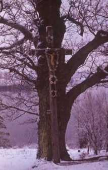 Krzyż przydrożny z metalową figurą Chrystusa - Brodnica Dolna