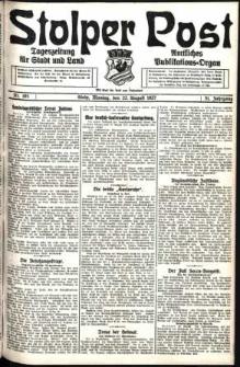 Stolper Post. Tageszeitung für Stadt und Land Nr. 195/1927