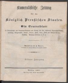 Cameralistische Zeitung für die Königlich Preussischen Staaten. Ein Centralblatt
