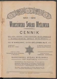 Warszawska Spółka Myśliwska : cennik składu broni i przyborów myśliwskich (1913-1914)