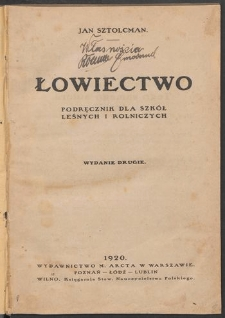Łowiectwo : podręcznik dla szkół leśnych i rolniczych