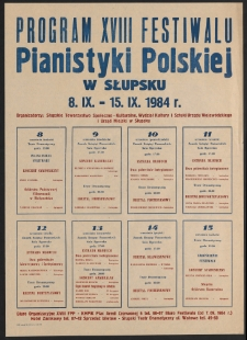 [Afisz] : XVIII Festiwal Pianistyki Polskiej w Słupsku