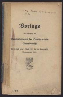 Vorlage zur Festsetzung des Haushaltsplanes der Stadtgemeinde Schneidemühl für die Zeit vom 1. April 1921 bis 31. März 1922. (Rechnungsjahr 1921.)
