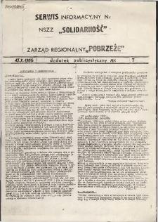 """Serwis Informacyjny Zarządu Regionu """"Pobrzeże"""" : dodatek publicystyczny, nr 7"""