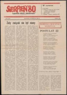 """""""Sierpień '80"""" Tygodnik NSZZ """"Solidarność"""", 1981, nr 13"""
