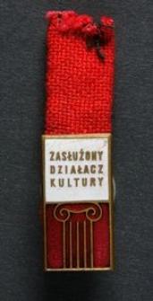 Odznaka Zasłużony Działacz Kultury + Legitymacja Nr 104