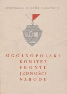 Legitymacja Odznaki Tysiąclecia Nr E-0103