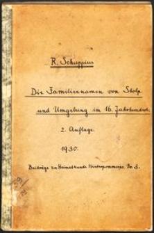 Die Familiennamen von Stolp und Umgebung im 16. Jahrhundert [II. Auflage]