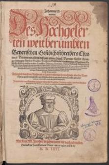 Johannis Aventini des Hochgelerten weitberümbten beyerischen Geschichtschreibers Chronica