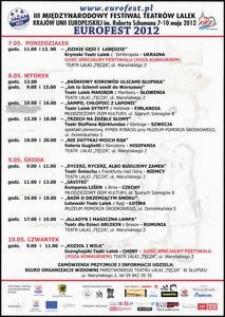[Afisz] : III Międzynarodowy Festiwal Teatrów Lalek Krajów Unii Europejskiej im. Roberta Schumana EUROFEST 2012