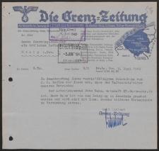 Pismo Grenz-Zeitung Verlagsleitung do Oberbürgermeister als örtlicher Luftschutzleiter Stolp i.Pom. 3.06.1942