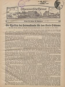 Ostpommersche Heimat, 1933-1934
