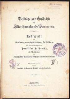 Beiträge zur Geschichte und Alterthumskunde Pommerns