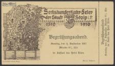 Begrükungsabend/zaproszenie na wieczór powitalny obchodów 600-lecia miasta w Hotelu Klein 4..IX.1910 roku