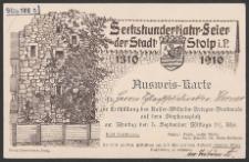 Ausweis-Karte/karta wstępu dla dyrektora Rzeźni Miejskiej J.Wernera na uroczystość odsłonięcia Pomnika cesarza Wilhelma na Placu von Stephana 5.IX.1910 roku (poniedziałek)