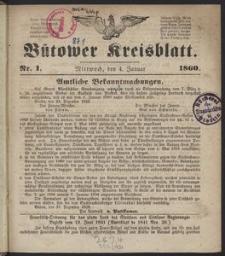 Bütower Kreisblatt 1860
