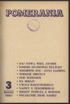 Pomerania : miesięcznik społeczno-kulturalny, 1980, nr 3