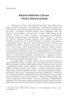 Bałtycka Biblioteka Cyfrowa - klaster dobrych praktyk