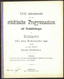 XXXI. Jahresbericht über das städtische Progymnasium mit Realabteilungen zu Schlawe für das Schuljahr 1902
