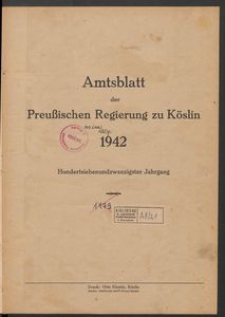 Amtsblatt der Preuβischen Regierung zu Köslin 1942