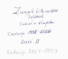 Związek Literatów Polskich. Zarząd Oddziału Słupsk, T 2, [Kronika]