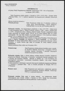 Informacja n/t pracy Rady Programowej Oddziału Terenowego TVP-SA w Szczecinie w okresie 1995-1998 r.