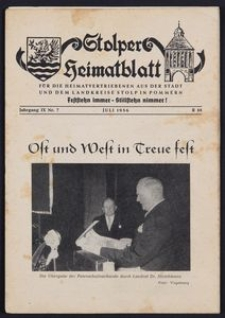 Stolper Heimatblatt für die Heimatvertriebenen aus der Stadt und dem Landkreise Stolp in Pommern Nr. 7/1956