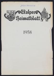 Stolper Heimatblatt für die Heimatvertriebenen aus der Stadt und dem Landkreise Stolp in Pommern, Stichwortverzeichnis 1958
