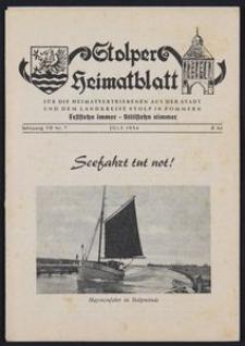 Stolper Heimatblatt für die Heimatvertriebenen aus der Stadt und dem Landkreise Stolp in Pommern Nr. 7/1954