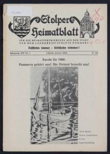 Stolper Heimatblatt für die Heimatvertriebenen aus der Stadt und dem Landkreise Stolp in Pommern Nr. 1/1960