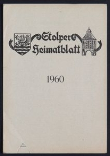 Stolper Heimatblatt für die Heimatvertriebenen aus der Stadt und dem Landkreise Stolp in Pommern, Stichwortverzeichnis 1960