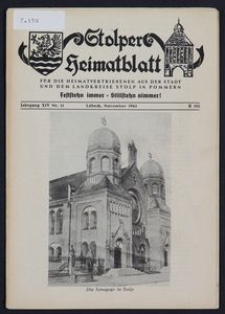 Stolper Heimatblatt für die Heimatvertriebenen aus der Stadt und dem Landkreise Stolp in Pommern Nr. 11/1961