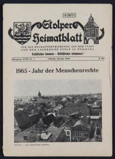Stolper Heimatblatt für die Heimatvertriebenen aus der Stadt und dem Landkreise Stolp in Pommern Nr. 1/1965