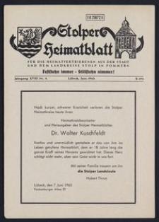 Stolper Heimatblatt für die Heimatvertriebenen aus der Stadt und dem Landkreise Stolp in Pommern Nr. 6/1965