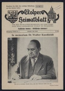 Stolper Heimatblatt für die Heimatvertriebenen aus der Stadt und dem Landkreise Stolp in Pommern Nr. 7/1965