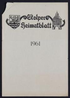 Stolper Heimatblatt für die Heimatvertriebenen aus der Stadt und dem Landkreise Stolp in Pommern, Stichwortverzeichnis 1961