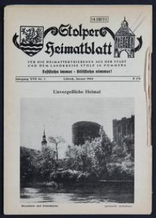 Stolper Heimatblatt für die Heimatvertriebenen aus der Stadt und dem Landkreise Stolp in Pommern Nr. 1/1964