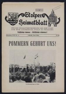 Stolper Heimatblatt für die Heimatvertriebenen aus der Stadt und dem Landkreise Stolp in Pommern Nr. 6/1964