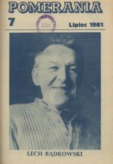 Pomerania : miesięcznik społeczno-kulturalny, 1981, nr 7