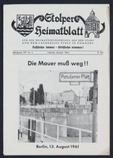 Stolper Heimatblatt für die Heimatvertriebenen aus der Stadt und dem Landkreise Stolp in Pommern Nr. 1/1962