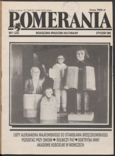 Pomerania : miesięcznik społeczno-kulturalny, 1992, nr 1