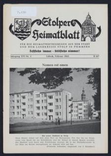 Stolper Heimatblatt für die Heimatvertriebenen aus der Stadt und dem Landkreise Stolp in Pommern Nr. 2/1963
