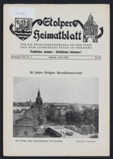 Stolper Heimatblatt für die Heimatvertriebenen aus der Stadt und dem Landkreise Stolp in Pommern Nr. 4/1963